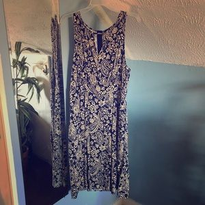 Forever 21+ Navy and Off White Patterned Dress